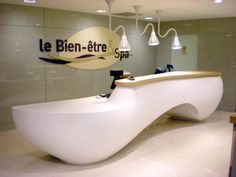 Find out all of the information about the IMAGE product: stone reception desk / for hotel VITAM'PARC. Curved Reception Desk, Salon Reception Desk, Reception Furniture, Reception Desk Design, Reception Counter, Hotel Reception, Curved Desk, Reception Table, Office Furniture