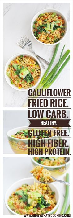 Cauliflower Fried Rice (low carb, high protein, gluten free, healthy, high fiber) - Honey, Whats Cooking