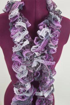 Flounce Ruffle Scarf - Lavender, Pink & Gray. $15.00, via Etsy.