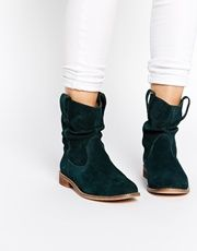 ALOOF Suede Pull On Ankle Boots