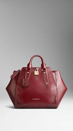 Snakeskin Detail London Leather Tote Bag | Burberry