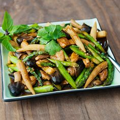 Thai chicken stir-fry with asparagus, baby corn, and straw mushrooms.  Fast, easy, awesome.