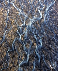 Icelandic river delta - An aerial view of one of Icelands many beautiful river deltas running into the ocean.