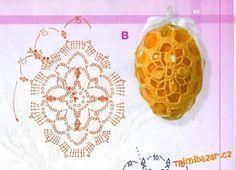 Postup je na obrázcích, myslím, že by to mělo jít přečíst. Já jsem si koupila zelená plastová vajíčk... Crochet Snowflake Pattern, Easter Crochet Patterns, Crochet Snowflakes, Crochet Motif, Crochet Cozy, Crochet Bunny, Irish Crochet, Crochet Flowers, Homemade Easter Baskets