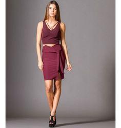 Midi Κρεπ Φούστα με Ζώνη  - Βουργουνδί Two Piece Skirt Set, Skirts, Dresses, Fashion, Vestidos, Moda, Fashion Styles, Skirt