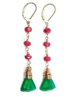 Brazilia Earrings - Hot Pink Tourmaline, Emerald Green Onyx