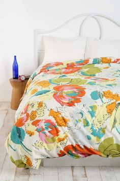 Watercolor Floral Duvet Cover  -- Aqua, coral and orange, stunning #UrbanOutfitters