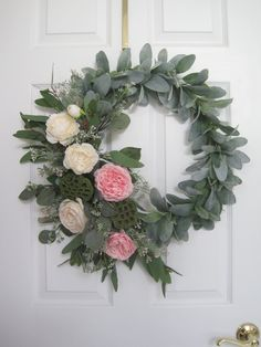 Spring Wreath, Summer Wreath, Easter Wreath For Front Door, Lambs. Informations About Spring Wreat Wreaths For Front Door, Door Wreaths, Easter Wreaths, Christmas Wreaths, Seeded Eucalyptus, Snowman Wreath, Lambs Ear, Lotus, Summer Wreath