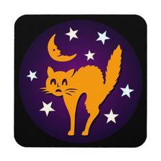 Happy Halloween! Orange Cat with Smiling Moon Beverage Coaster
