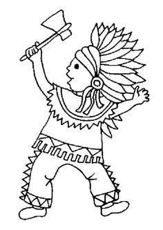 Dessin à colorier d'un petit garçon déguisé en Indien et tenant une hache à la main