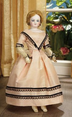 French Bisque Poupee with Antique Rose Silk Gown 1700/2100