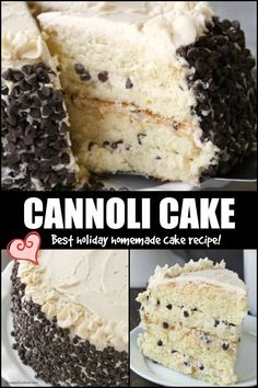 BEST Homemade Cannoli Cake recipe - 4 layered easy cake from scratch with a cannoli cream filling and chocolate chips. Wow your guests for Christmas and holiday parties! #SnappyGourmet #Italian #Dessert #Christmas #Cake #Cannoli Oreo Desserts, Christmas Desserts, Just Desserts, Delicious Desserts, Yummy Food, Pudding Desserts, Easy Christmas Cake Recipe, Italian Christmas Cake, Christmas Cakes