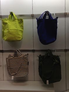 totes- neon, electric blue, black and white striped (better pic to follow)