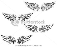 Tribal Angel Wing Tattoo - Tribal small angel wing tattoos add a fancy W for Winston.