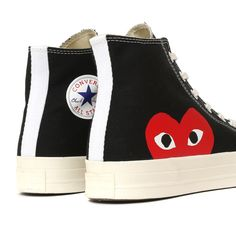 Comme des Garcons PLAY x Converse Chuck Taylor All Star '70 High Black Cdg Converse, Converse Style, Converse Chuck Taylor All Star, Converse All Star, Look Patches, Chucks Outfit, High Top Sneakers, Shoes Sneakers, Comme Des Garcons
