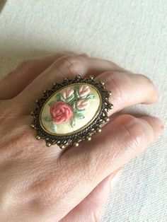 Embroidered pink rose flower ring Fabric ring by RedWorkStitches