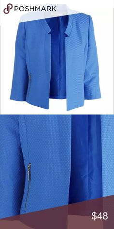 "Kasper blue jacket Blue collarless jacket, open front with zippered side. Length 21 1/2"", sleeve 18 1/2"". 100% polyester textured design. Kasper Jackets & Coats Blazers"
