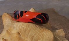 Palm Leaves in poppy red, black - hand painted bracelet - beach, tropical, nature on Etsy, $12.95