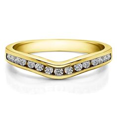 Sterling Silver Traditional Style Curved Wedding Tracer Ring mounted with Cubic Zirconia (0.62 Cts. twt) (Yellow Plated Sterling Silver, Size 7.5), Women's