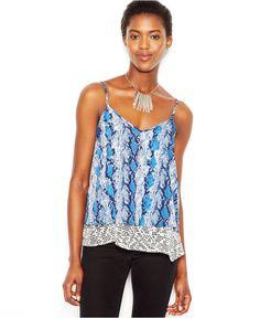 Bar III Sleeveless Snakeskin-Print Lace Tank Top - Bar III - Women - Macy's