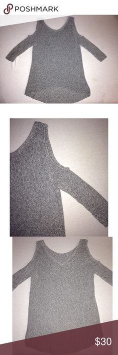Express Sweater w/ Cutouts Grey knit with shoulder cutouts. Express Tops