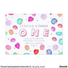 Donuts hand painted watercolor baby first birthday card