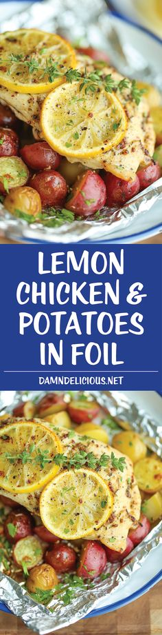 Lemon Chicken and Potatoes in Foil - Damn Delicious I Love Food, Good Food, Yummy Food, Tasty, Foil Packet Meals, Foil Packets, Foil Dinners, Cooking Recipes, Healthy Recipes
