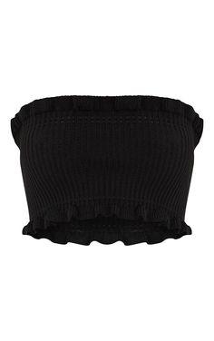 2bc826ea7db Brittnay Black Ruffle Detail Knit Tube Top