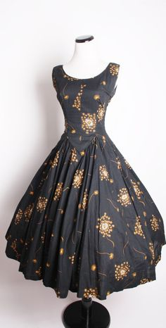 Vintage 1950s Black Cocktail Dress with Dandelion Print Mad Men Fashion.    *Dress shown over a crinoline and that crinoline is not included with the