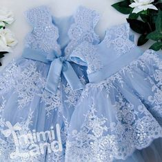 Cute Knee Length Cap Sleeves Sky Blue Flower Girl Dresses with Appliqu – NYDress Little Dresses, Little Girl Dresses, Girls Dresses, Flower Girl Dresses, Dress Anak, Kids Gown, Kids Frocks Design, Baby Kind, Birthday Dresses