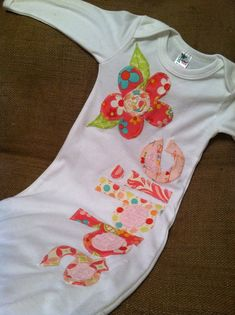 Personalized infant gown by craftycheetah on Etsy, $30.00