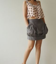 Cotton Mini Bubble Skirt by aftershowershop on Etsy