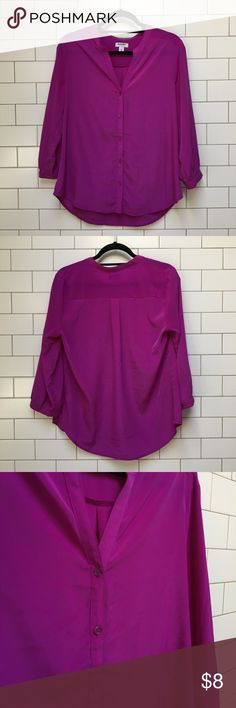Old Navy // Bright purple button up blouse Lovely neon purple blouse with a hint of sheen in the fabric. Excellent condition. Buttons down the front and on the 3/4 sleeves. Old Navy Tops Blouses