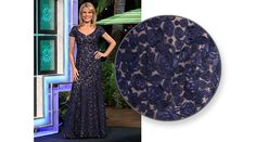 LA FEMME Navy blue re-embroidered lace gown, v-neckline, cap sleeves, princess style w/flared hemline & train | Vanna White's dresses | Wheel of Fortune