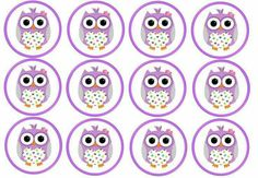 J Owl Clip Art, Wafer Paper Cake, Purple Owl, Student Gifts, Cupcake Toppers, Origami, Baby Shower, Birthday, Bottle Caps