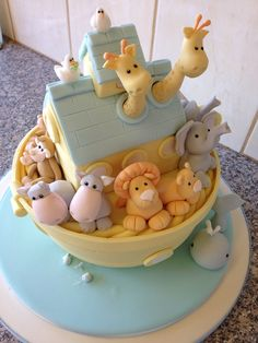 Novelty Noah's ark baby shower cake