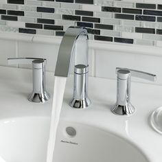 American Standard Berwick High Arc Widespread Bathroom Faucet with Speed Connect Drain Finish: Polished Chrome - Modern Bathroom Sink Stopper, Modern Bathroom Faucets, Tub And Shower Faucets, Shower Tub, Bathroom Fixtures, Bathroom Ideas, Bathroom Organization, Bathroom Cabinets, Bathroom Designs