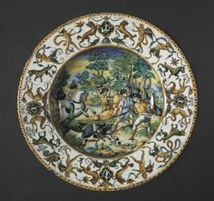 Plate: A Boar Hunt, c. 1560 Italy, Urbino; Atelier of the Fontana Family, 16th century tin-glazed earthenware (maiolica), Diameter: 8.60 x 45.70 cm