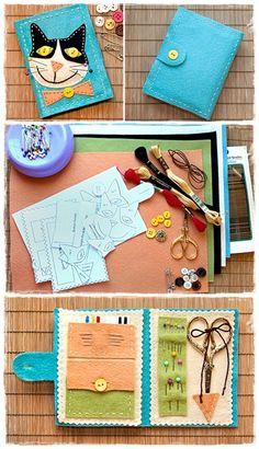 Kitty Sewing Kit Tutorial  -  http://www.diyandcrafttutorials.com/diy-kitty-sewing-kit/
