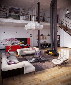 RIP3D Industrial Loft- Organic coccoon like pendant light crowning fireplace living on blonde hardwood floors