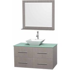 Wyndham Collection Centra 42 inch Single Bathroom Vanity in Gray Oak, Green Glass Countertop, Pyra White Porcelain Sink, and 36 inch Mirror