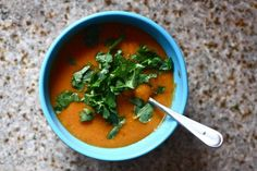 Curried butternut and red lentil soup