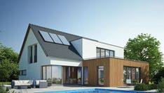 House extension through house extension and large dormer - House extension through house extension and large dormer - Modern Residential Architecture, Architecture Résidentielle, Education Architecture, Perspective Architecture, Renovation Facade, Dormer House, Modern Villa Design, House Extensions, Pool Houses