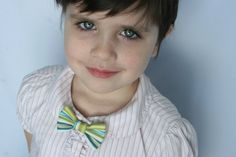 Greens and Blues Striped Clip On Bow Tie or Hair by happywalrus, $4.50
