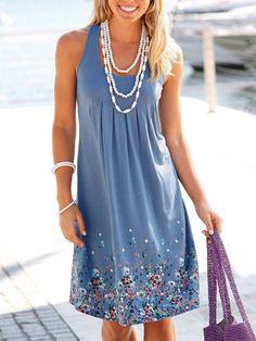 Shop Casual Dresses - Blue Floral Crew Neck Sleeveless Casual Dress online. Discover unique designers fashion at PopJuLia.com.