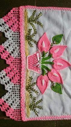 Ideas For Crochet Lace Border Pillowcases Crochet Art, Crochet Home, Crochet Motif, Crochet Doilies, Crochet Flowers, Crochet Edging Patterns, Crochet Borders, Crochet Kitchen, Crochet Projects