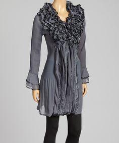Gray Floral Ruffle Silk-Blend Long-Sleeve Top