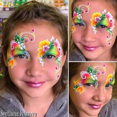 Beautiful colors, brushwork and design layout. Face Painting Flowers, Butterfly Face Paint, Girl Face Painting, Mask Painting, Face Painting Designs, Mask Face Paint, Face Paint Makeup, Make Up Tricks, Boy Face
