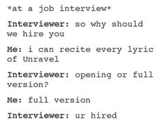Yes, this will be me interviewing for a job at the anime store