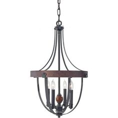 Feiss Alston 4-Light Charcoal Brick/Acorn 1-Tier Chandelier-F2798/4AF/CBA - The Home Depot